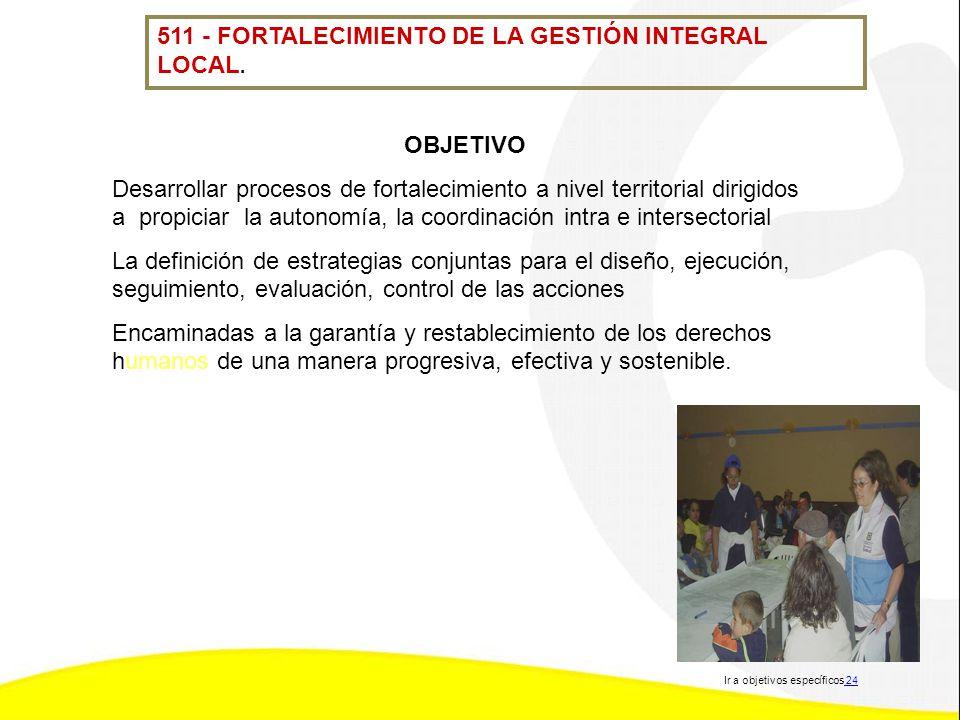 511 - FORTALECIMIENTO DE LA GESTIÓN INTEGRAL LOCAL. OBJETIVO Desarrollar procesos de fortalecimiento a nivel territorial dirigidos a propiciar la auto