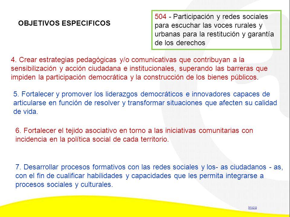 504 - Participación y redes sociales para escuchar las voces rurales y urbanas para la restitución y garantía de los derechos 4. Crear estrategias ped