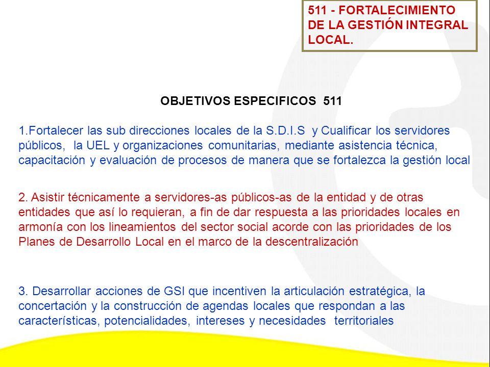 OBJETIVOS ESPECIFICOS 511 1.Fortalecer las sub direcciones locales de la S.D.I.S y Cualificar los servidores públicos, la UEL y organizaciones comunit