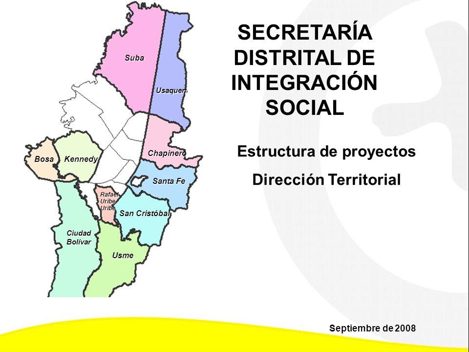 Suba Usaquen Bosa Chapinero Kennedy RafaelUribeUribe San Cristóbal CiudadBolívar Usme Santa Fe SECRETARÍA DISTRITAL DE INTEGRACIÓN SOCIAL Estructura d