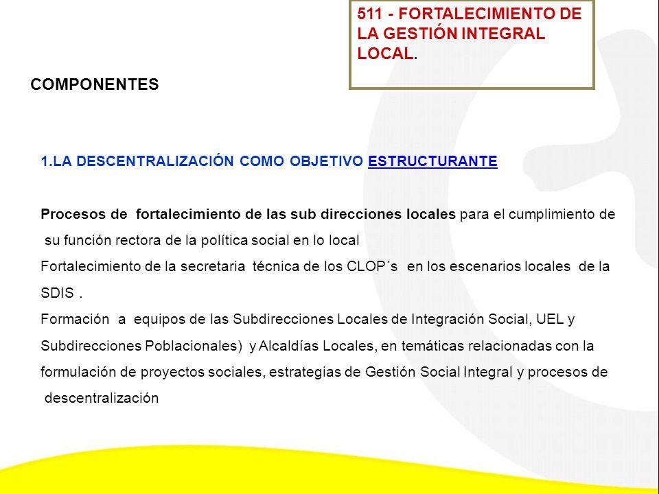 511 - FORTALECIMIENTO DE LA GESTIÓN INTEGRAL LOCAL. 1.LA DESCENTRALIZACIÓN COMO OBJETIVO ESTRUCTURANTEESTRUCTURANTE Procesos de fortalecimiento de las