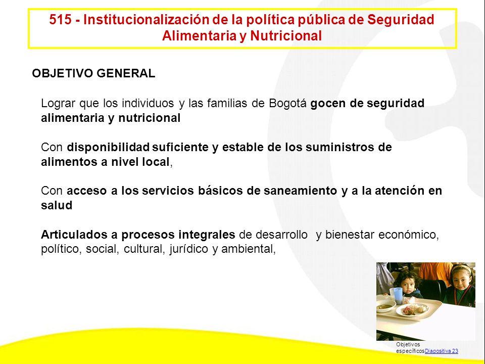515 - Institucionalización de la política pública de Seguridad Alimentaria y Nutricional Lograr que los individuos y las familias de Bogotá gocen de s