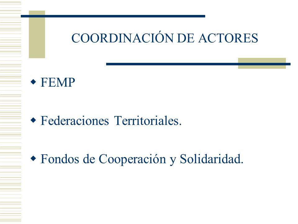 COORDINACIÓN DE ACTORES FEMP Federaciones Territoriales. Fondos de Cooperación y Solidaridad.