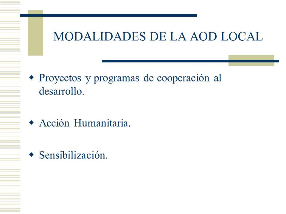 MODALIDADES DE LA AOD LOCAL Proyectos y programas de cooperación al desarrollo. Acción Humanitaria. Sensibilización.
