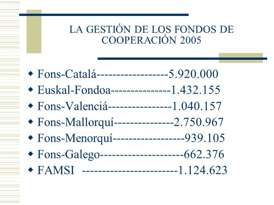 LA GESTIÓN DE LOS FONDOS DE COOPERACIÓN 2005 Fons-Catalá------------------5.920.000 Euskal-Fondoa---------------1.432.155 Fons-Valenciá---------------