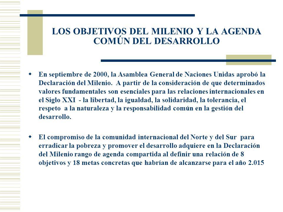 LOS OBJETIVOS DEL MILENIO Y LA AGENDA COMÚN DEL DESARROLLO En septiembre de 2000, la Asamblea General de Naciones Unidas aprobó la Declaración del Mil