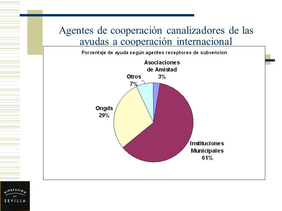 Agentes de cooperación canalizadores de las ayudas a cooperación internacional