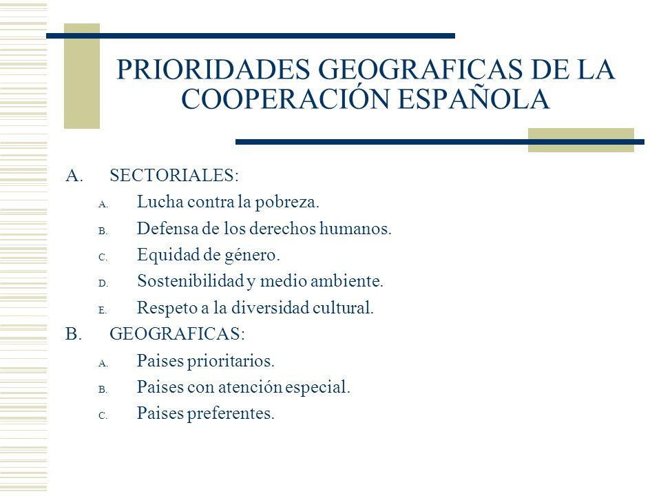 PRIORIDADES GEOGRAFICAS DE LA COOPERACIÓN ESPAÑOLA A.SECTORIALES: A. Lucha contra la pobreza. B. Defensa de los derechos humanos. C. Equidad de género