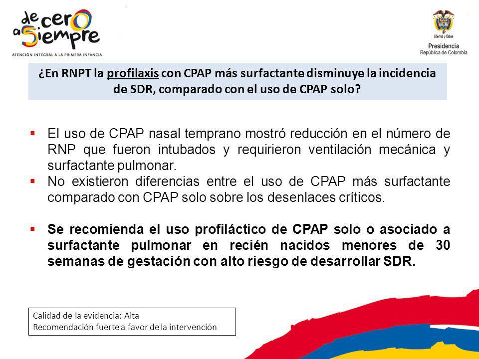 ¿En RNPT la profilaxis con CPAP más surfactante disminuye la incidencia de SDR, comparado con el uso de CPAP solo? El uso de CPAP nasal temprano mostr