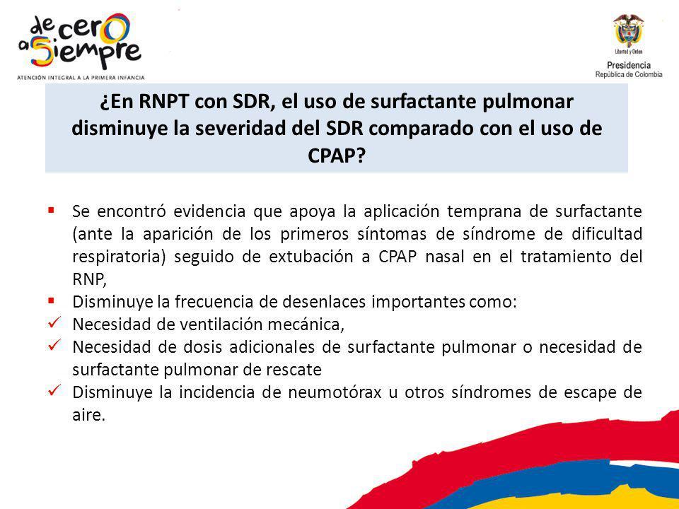 ¿En RNPT con SDR, el uso de surfactante pulmonar disminuye la severidad del SDR comparado con el uso de CPAP? Se encontró evidencia que apoya la aplic