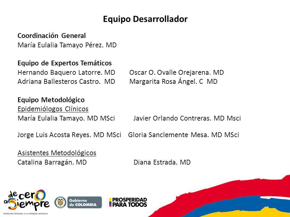 Equipo Desarrollador Coordinación General María Eulalia Tamayo Pérez. MD Equipo de Expertos Temáticos Hernando Baquero Latorre. MD Oscar O. Ovalle Ore