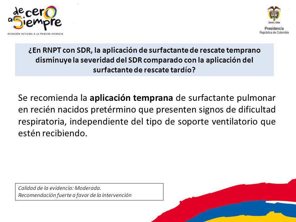 ¿En RNPT con SDR, la aplicación de surfactante de rescate temprano disminuye la severidad del SDR comparado con la aplicación del surfactante de rescate tardío.