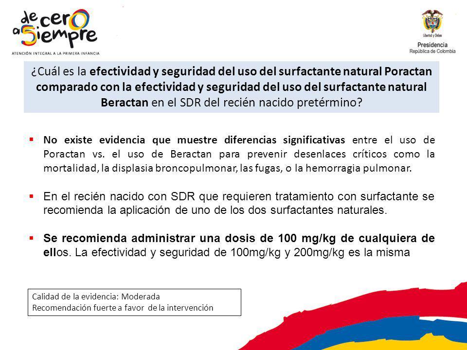 ¿Cuál es la efectividad y seguridad del uso del surfactante natural Poractan comparado con la efectividad y seguridad del uso del surfactante natural Beractan en el SDR del recién nacido pretérmino.