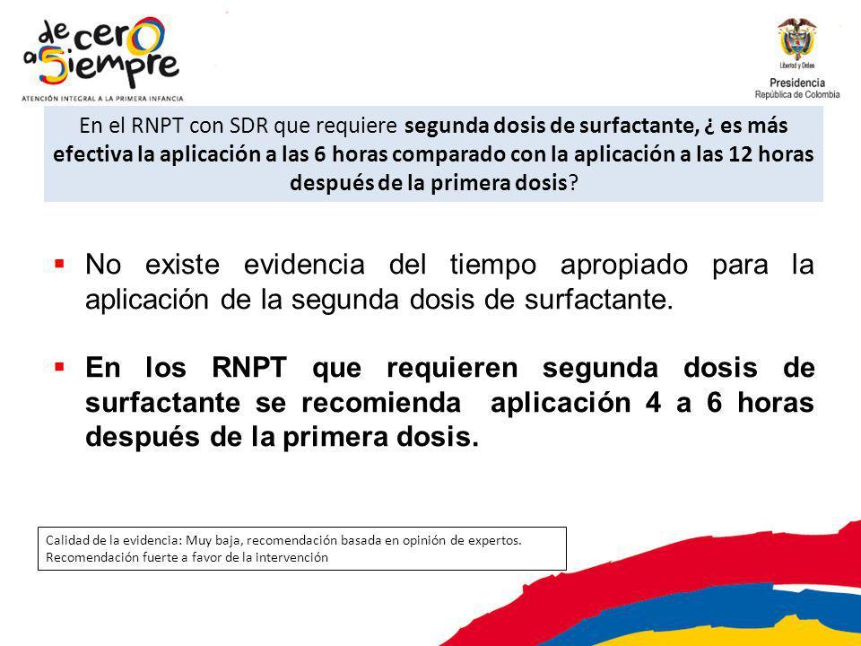 En el RNPT con SDR que requiere segunda dosis de surfactante, ¿ es más efectiva la aplicación a las 6 horas comparado con la aplicación a las 12 horas después de la primera dosis.