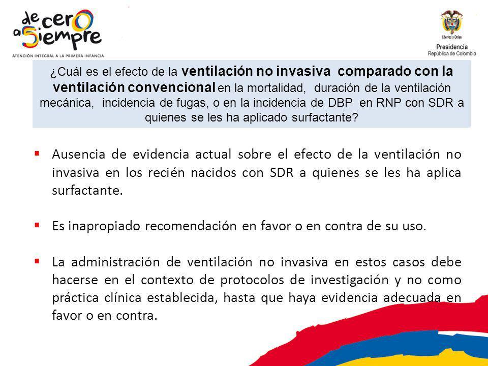 ¿Cuál es el efecto de la ventilación no invasiva comparado con la ventilación convencional en la mortalidad, duración de la ventilación mecánica, incidencia de fugas, o en la incidencia de DBP en RNP con SDR a quienes se les ha aplicado surfactante.
