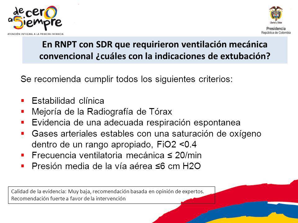 En RNPT con SDR que requirieron ventilación mecánica convencional ¿cuáles con la indicaciones de extubación? Se recomienda cumplir todos los siguiente