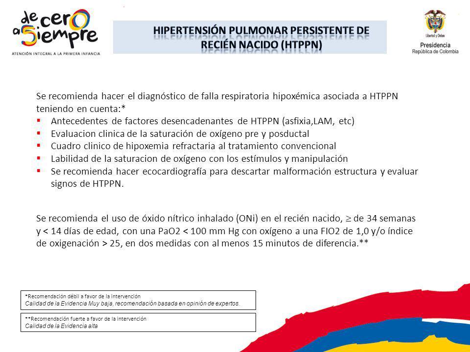 Se recomienda hacer el diagnóstico de falla respiratoria hipoxémica asociada a HTPPN teniendo en cuenta:* Antecedentes de factores desencadenantes de