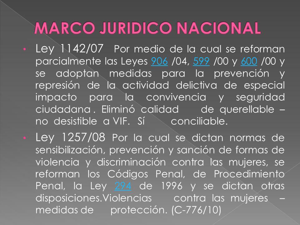 Ley 1142/07 Por medio de la cual se reforman parcialmente las Leyes 906 /04, 599 /00 y 600 /00 y se adoptan medidas para la prevención y represión de