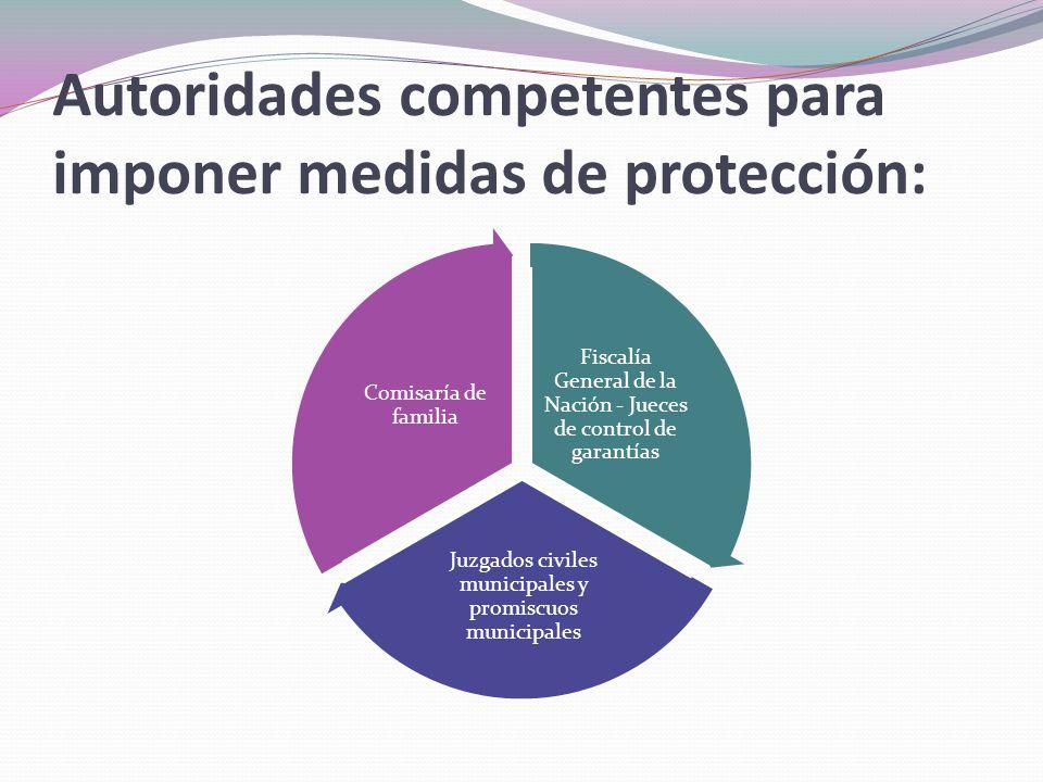 Autoridades competentes para imponer medidas de protección: Fiscalía General de la Nación - Jueces de control de garantías Juzgados civiles municipale