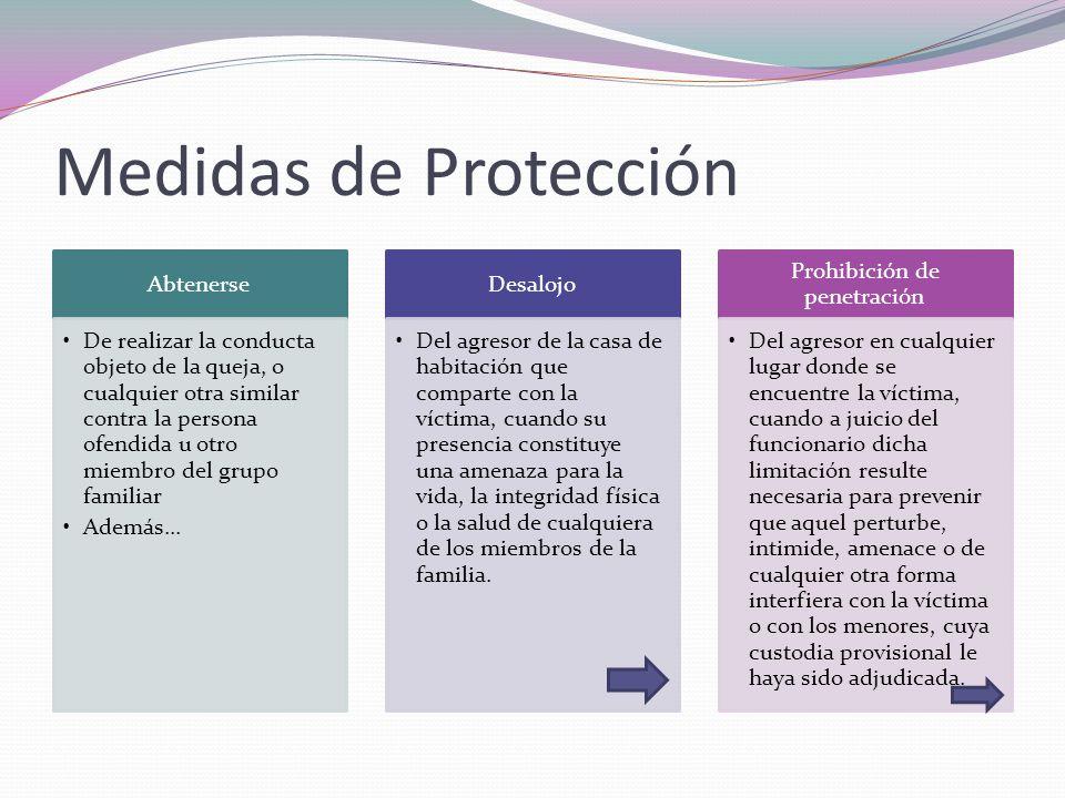 Medidas de Protección Abtenerse De realizar la conducta objeto de la queja, o cualquier otra similar contra la persona ofendida u otro miembro del gru