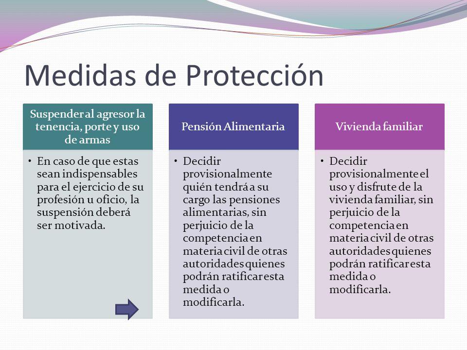Medidas de Protección Suspender al agresor la tenencia, porte y uso de armas En caso de que estas sean indispensables para el ejercicio de su profesió