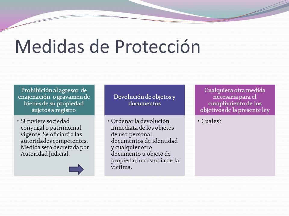 Medidas de Protección Prohibición al agresor de enajenación o gravamen de bienes de su propiedad sujetos a registro Si tuviere sociedad conyugal o pat