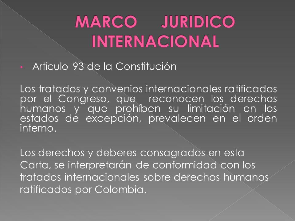 Artículo 93 de la Constitución Los tratados y convenios internacionales ratificados por el Congreso, que reconocen los derechos humanos y que prohíben