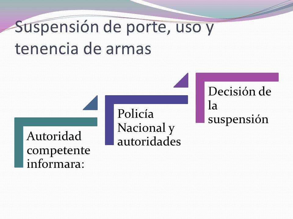 Suspensión de porte, uso y tenencia de armas Autoridad competen te informara: Policía Nacional y autoridad es Decisión de la suspensión