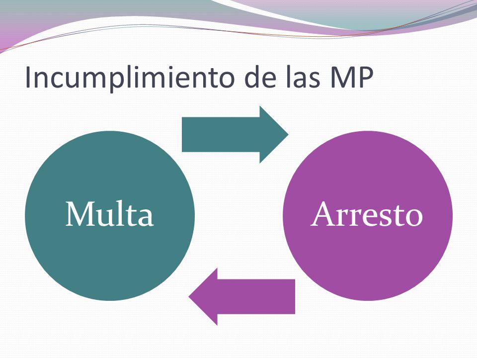 Incumplimiento de las MP Multa Arresto