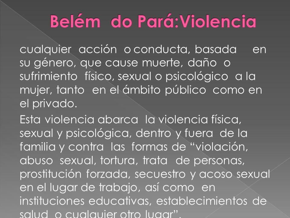 cualquier acción oconducta, basada en su género, que cause muerte, daño o sufrimiento físico, sexual o psicológico a la mujer, tanto en el ámbito públ