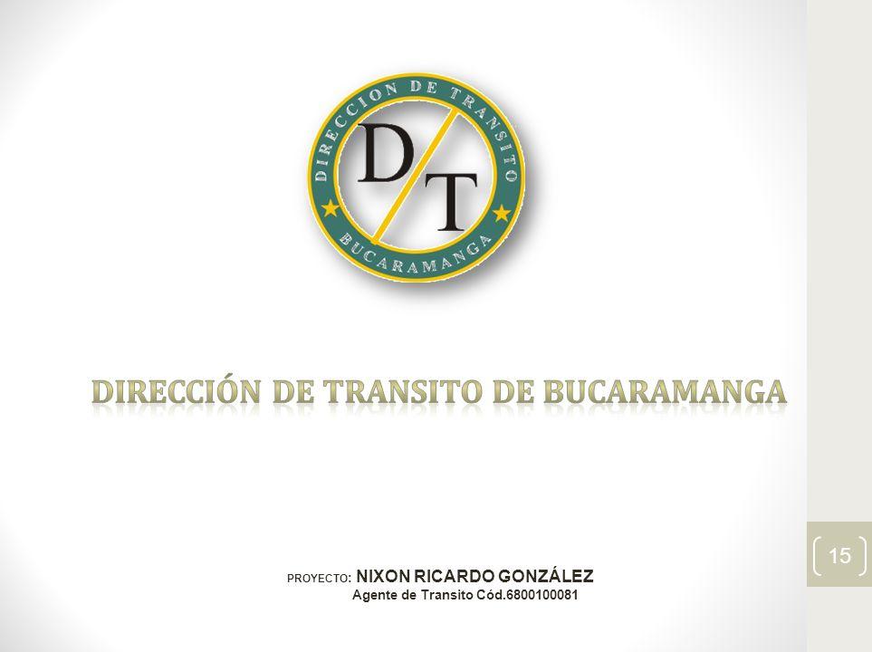 PROYECTO : NIXON RICARDO GONZÁLEZ Agente de Transito Cód.6800100081 15