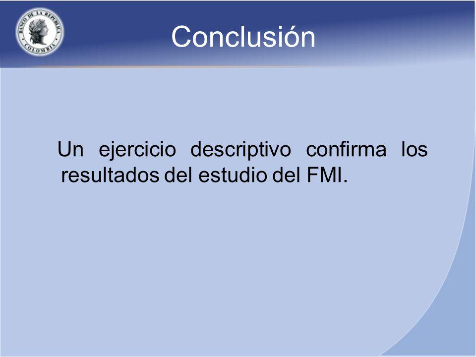 Conclusión Un ejercicio descriptivo confirma los resultados del estudio del FMI.