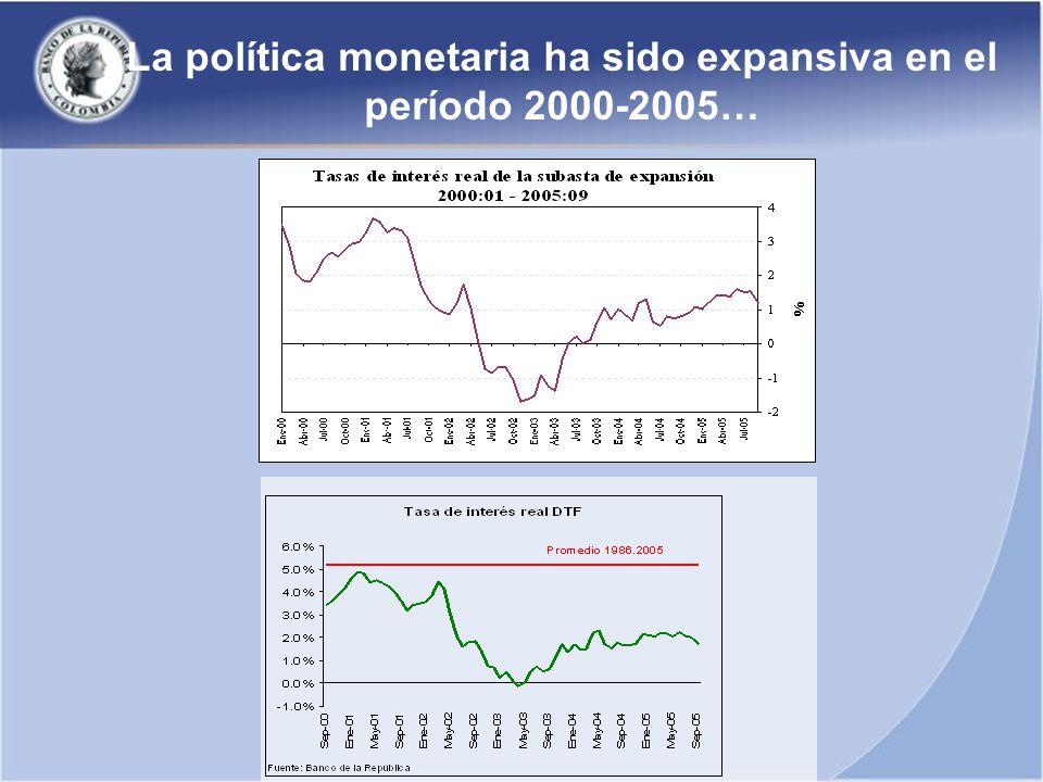 La política monetaria ha sido expansiva en el período 2000-2005…