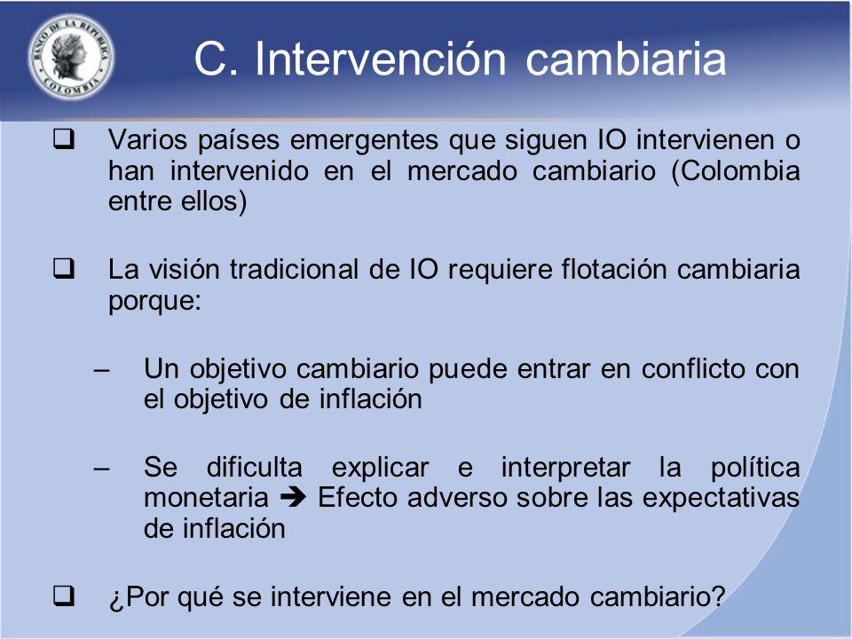 C. Intervención cambiaria Varios países emergentes que siguen IO intervienen o han intervenido en el mercado cambiario (Colombia entre ellos) La visió