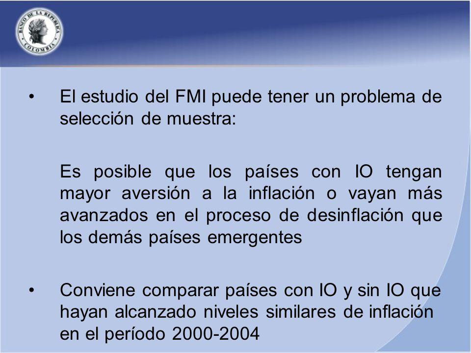 El estudio del FMI puede tener un problema de selección de muestra: Es posible que los países con IO tengan mayor aversión a la inflación o vayan más avanzados en el proceso de desinflación que los demás países emergentes Conviene comparar países con IO y sin IO que hayan alcanzado niveles similares de inflación en el período 2000-2004