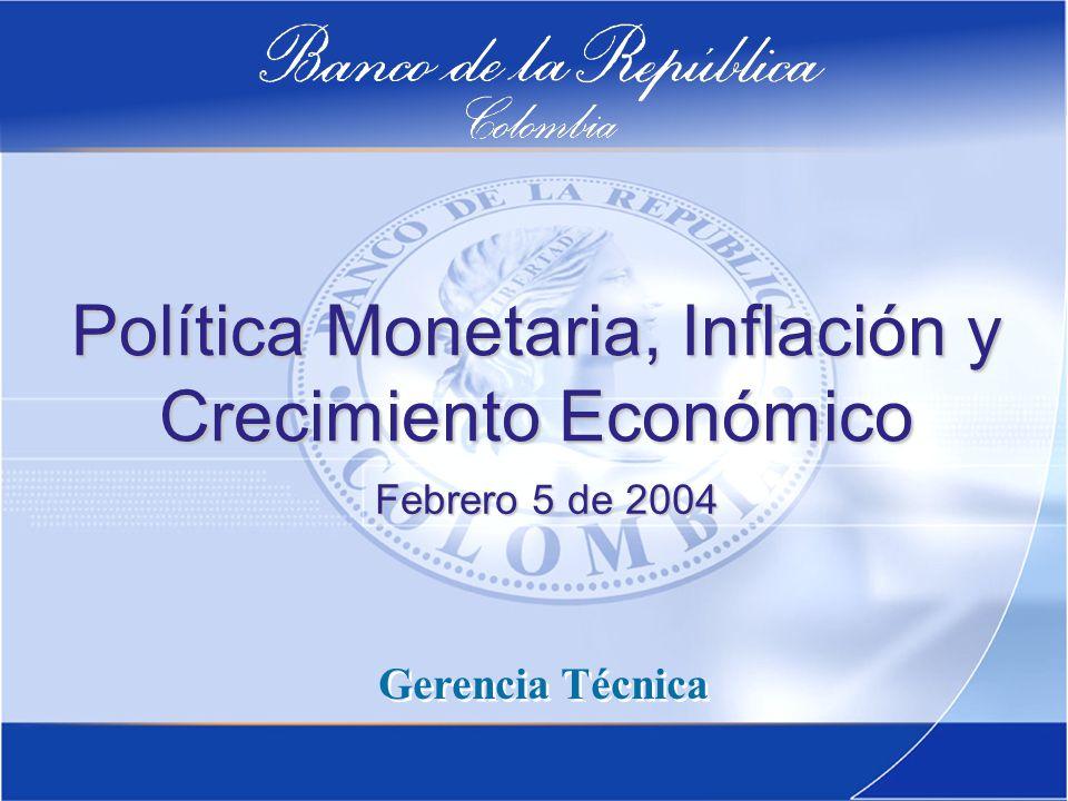 Política Monetaria, Inflación y Crecimiento Económico Gerencia Técnica Febrero 5 de 2004
