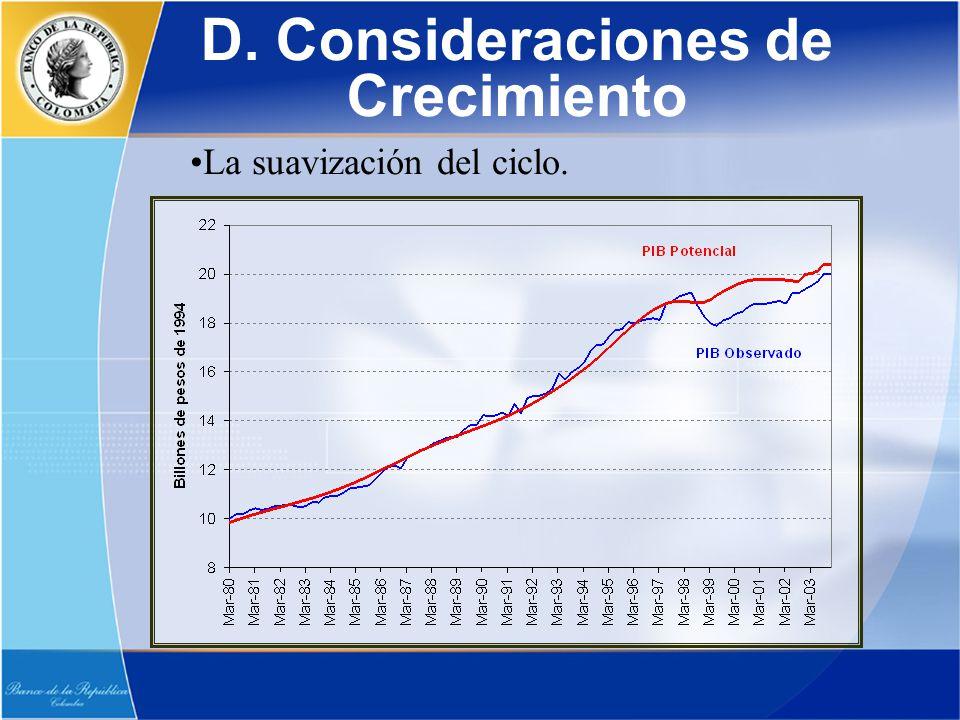D. Consideraciones de Crecimiento La suavización del ciclo.