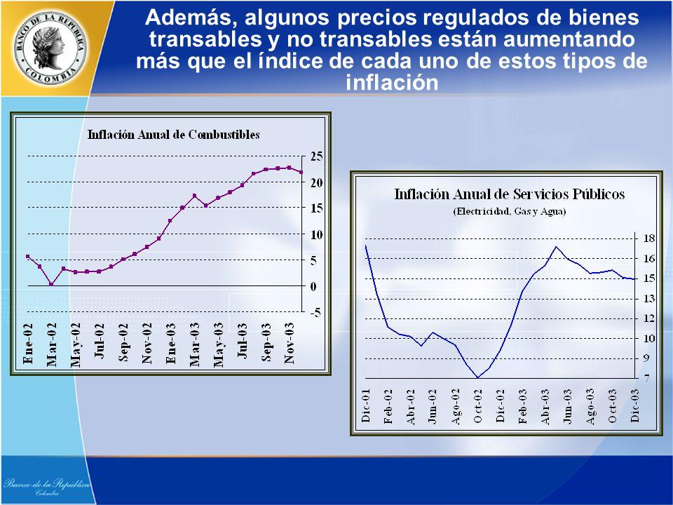 Además, algunos precios regulados de bienes transables y no transables están aumentando más que el índice de cada uno de estos tipos de inflación