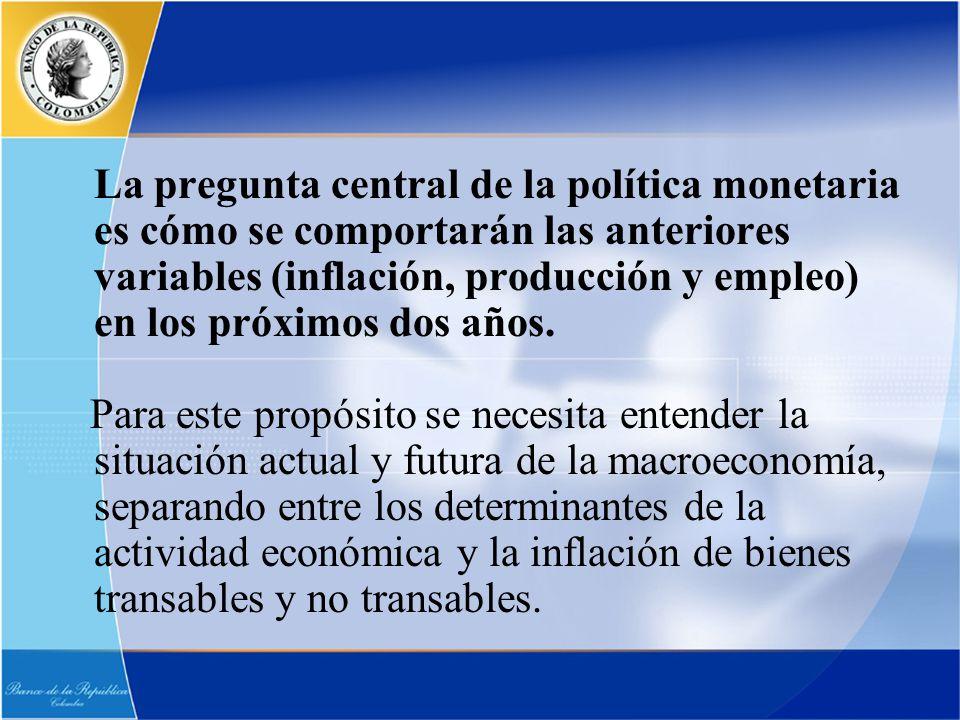 La pregunta central de la política monetaria es cómo se comportarán las anteriores variables (inflación, producción y empleo) en los próximos dos años