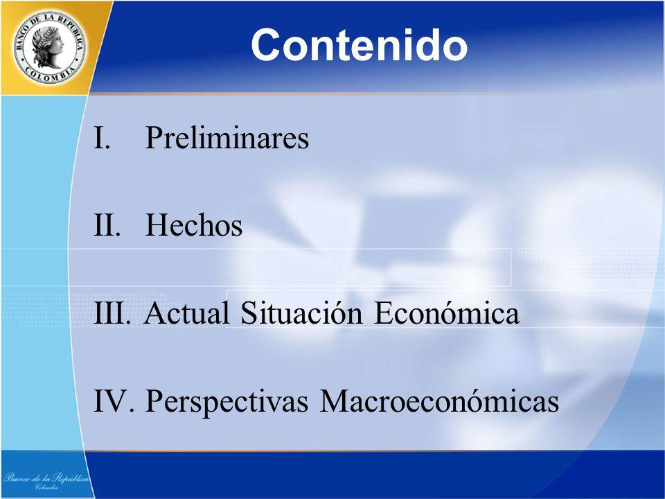 Contenido I. Preliminares II. Hechos III. Actual Situación Económica IV. Perspectivas Macroeconómicas