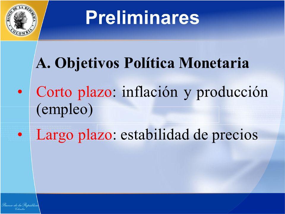 Preliminares A.Objetivos Política Monetaria Corto plazo: inflación y producción (empleo) Largo plazo: estabilidad de precios