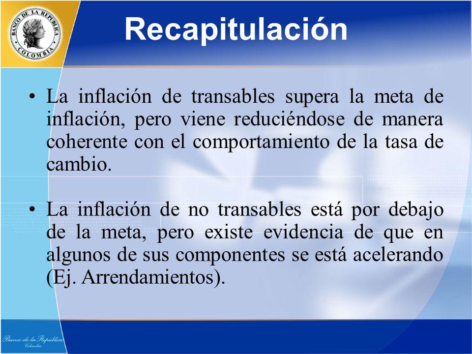 Recapitulación La inflación de transables supera la meta de inflación, pero viene reduciéndose de manera coherente con el comportamiento de la tasa de