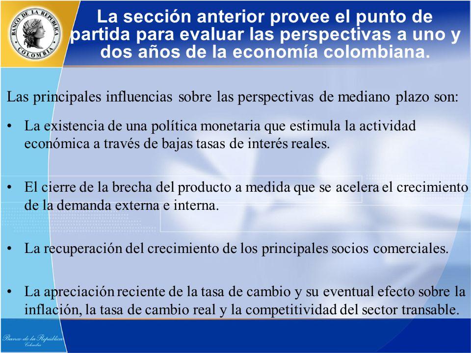 La existencia de una política monetaria que estimula la actividad económica a través de bajas tasas de interés reales. El cierre de la brecha del prod