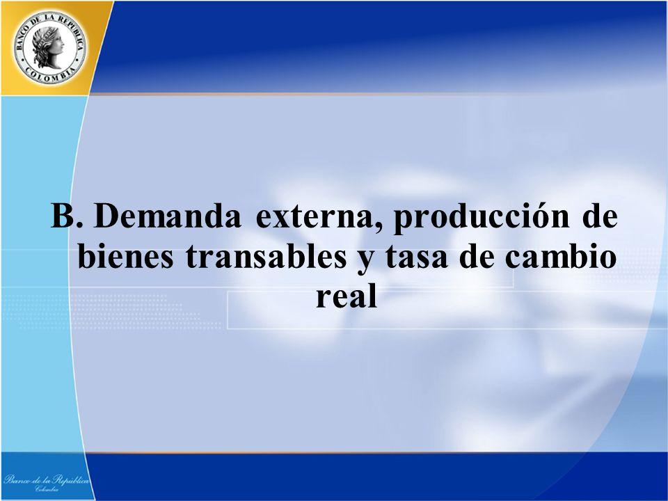 B. Demanda externa, producción de bienes transables y tasa de cambio real