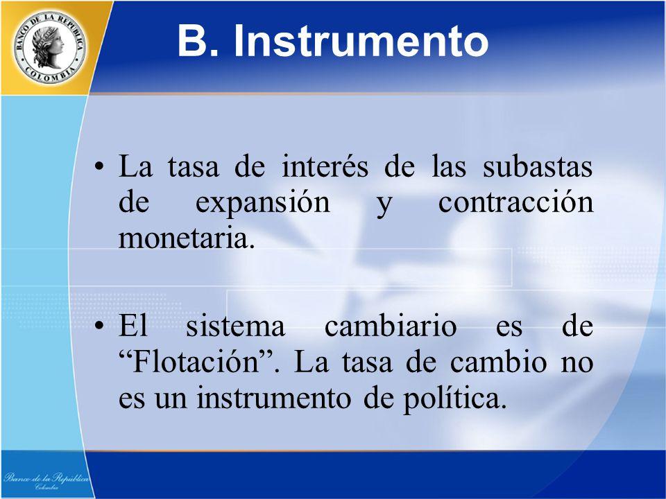 La tasa de interés de las subastas de expansión y contracción monetaria. El sistema cambiario es de Flotación. La tasa de cambio no es un instrumento