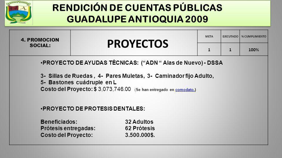 RENDICIÓN DE CUENTAS PÚBLICAS GUADALUPE ANTIOQUIA 2009 4. PROMOCION SOCIAL: METAEJECUTADO% CUMPLIMIENTO 11100% PROYECTO DE AYUDAS TÉCNICAS: (ADN Alas