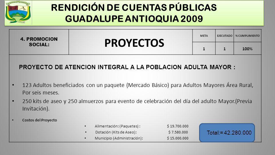 RENDICIÓN DE CUENTAS PÚBLICAS GUADALUPE ANTIOQUIA 2009 4. PROMOCION SOCIAL: METAEJECUTADO% CUMPLIMIENTO 11100% PROYECTOS PROYECTO DE ATENCION INTEGRAL