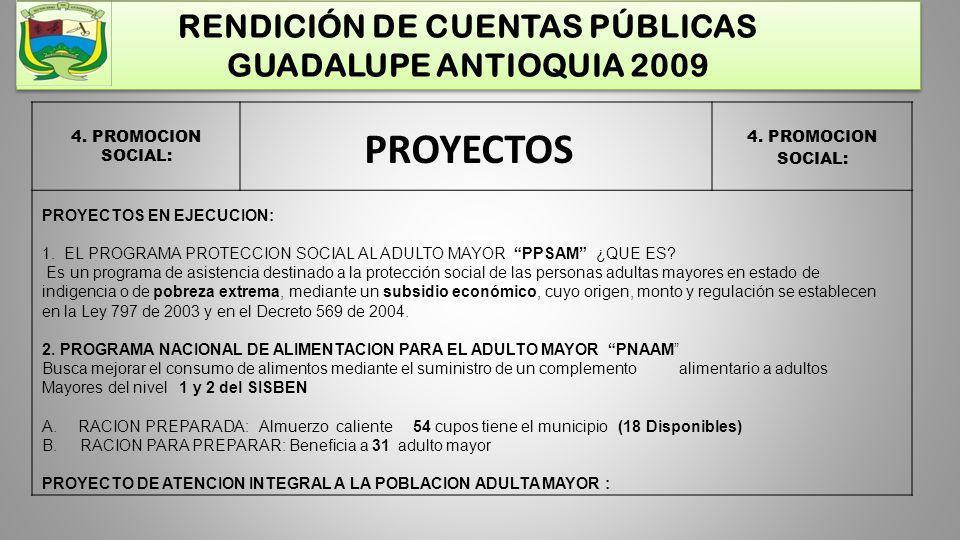 RENDICIÓN DE CUENTAS PÚBLICAS GUADALUPE ANTIOQUIA 2009 4. PROMOCION SOCIAL: PROYECTOS PROYECTOS EN EJECUCION: 1. EL PROGRAMA PROTECCION SOCIAL AL ADUL