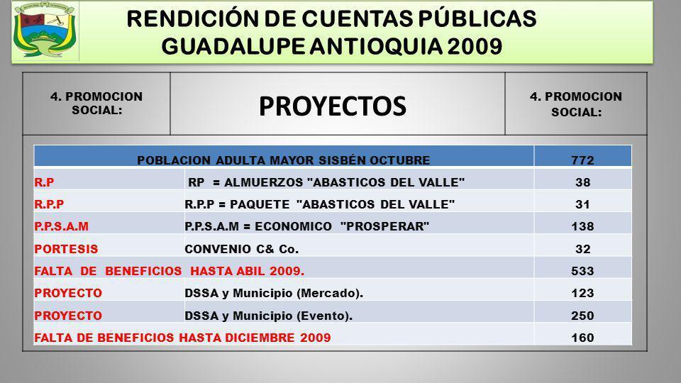 RENDICIÓN DE CUENTAS PÚBLICAS GUADALUPE ANTIOQUIA 2009 4. PROMOCION SOCIAL: PROYECTOS POBLACION ADULTA MAYOR SISBÉN OCTUBRE772 R.P RP = ALMUERZOS