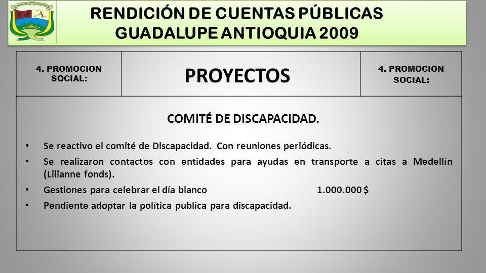 RENDICIÓN DE CUENTAS PÚBLICAS GUADALUPE ANTIOQUIA 2009 4. PROMOCION SOCIAL: PROYECTOS COMITÉ DE DISCAPACIDAD. Se reactivo el comité de Discapacidad. C